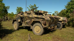 German Armored Car in Field Stock Footage
