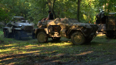 German Armored Cars in Woods 2 Stock Footage