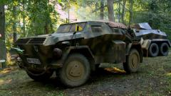 German Armored Car in Woods Stock Footage