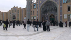 Iran mosque, people exit after Friday prayer Stock Footage