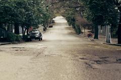 Empty Street on Suburb - stock photo