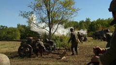 German Cannon Blast 1 Stock Footage