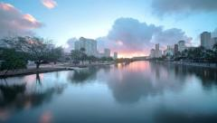 4k, UHD, Golden sunrise through Honolulu cityscape, Ala Wai foreground, HDR time Stock Footage