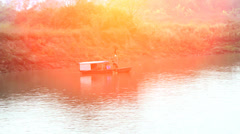 Boat on river Stock Footage