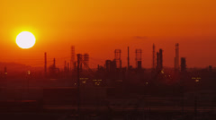 Oil Refinery sunset 5 - Red Epic Stock Footage