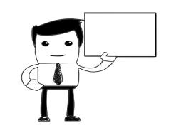 Male with sign in hand whiteboard animation - stock footage