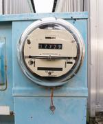 glass dome watt hour electric utility meters dock outside - stock photo
