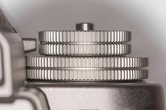 Dials on top of camera Stock Photos