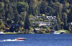 lake washington mercer island from seward park - stock photo