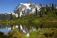 Stock Photo of reflection lake mount shuksan washington state