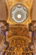 Basilica dome painting altar piece church of el salvador seville andalusia sp Stock Photos