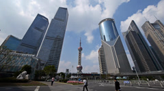 Shanghai lujiazui business center,skyscraper & orient pearl TV tower. Stock Footage