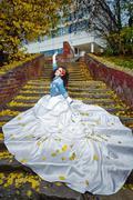 Bride on stairs Stock Photos