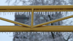 Icicles on Bars Ice Storm 2013 Stock Footage