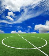 soccer football field stadium grass line ball background textur - stock photo