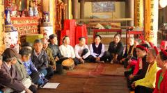 singing folk songs with drum - stock footage