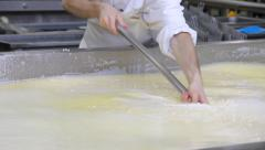 Stock Video Footage of Making cheese in dairy factory