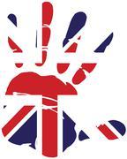 Hand print uk flag - stock illustration