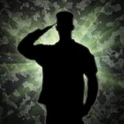 saluting soldier's silhouette on an army camouflage background - stock illustration