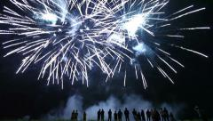 People watching fireworks display Stock Footage