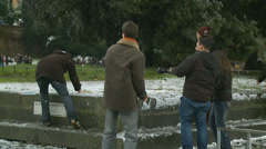 Rome in snow 38 (snow fight) Stock Footage