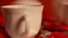 Set of tea cups on the table Stock Footage