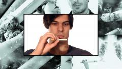 Quit smoking, collage Stock Footage
