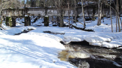 a bridge and the snow-covered area underneath - stock footage