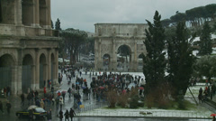 Rome in snow 40 (Colosseum & Arch of Constantine) Stock Footage