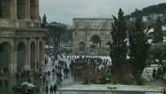 Stock Video Footage of Rome in snow 40 (Colosseum & Arch of Constantine)