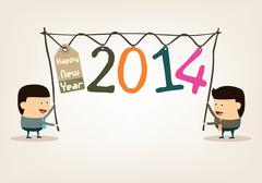Happy New Year with Cartoon Businessman,Two thousand fourteen Stock Illustration