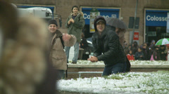 Rome in snow 39 (snow fight) Stock Footage