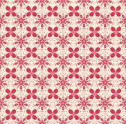 Floral pattern in beige and red colors Stock Illustration