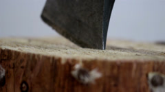 The tip on an axe pinch on the wood Stock Footage