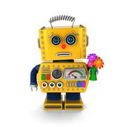 Apologetic toy robot asking for forgiveness Stock Illustration