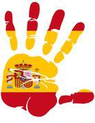 Hand print of Spain flag Stock Illustration