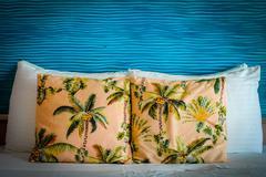 paradise hotel room bed - stock photo
