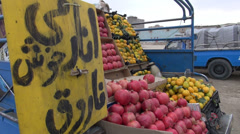 Fruit market on the roadside in Iran, selling fruit from a car Stock Footage