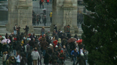 Rome in snow 49 (police blow whistle at snow ball fighting crowd) Stock Footage