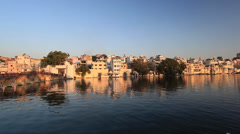 Panning Udaipur Panoramic Cityscape Ghats and Lake at Sunset Stock Footage
