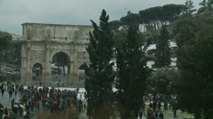 Rome in snow 46 (Arch of Constantine) Stock Footage