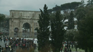 Stock Video Footage of Rome in snow 46 (Arch of Constantine)