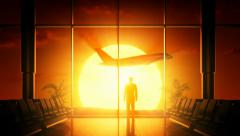 Sunrise at airport Stock Footage