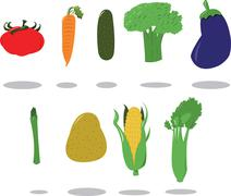 Group of Vegetables Stock Illustration
