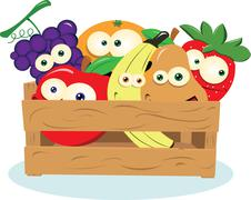 Funny Fruit in a Box Stock Illustration