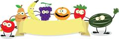 Funny Fruit Banner Stock Illustration