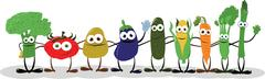 Funny Vegetables Saying Hello - stock illustration