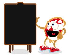 Funny Pizza Pointing a Blackboard Stock Illustration