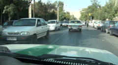 Driving a taxi through Shiraz city in Iran Stock Footage
