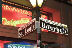 Corner of Bourbon & St. Louis Stock Photos